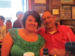 My husband & I at Lambert's Cafe