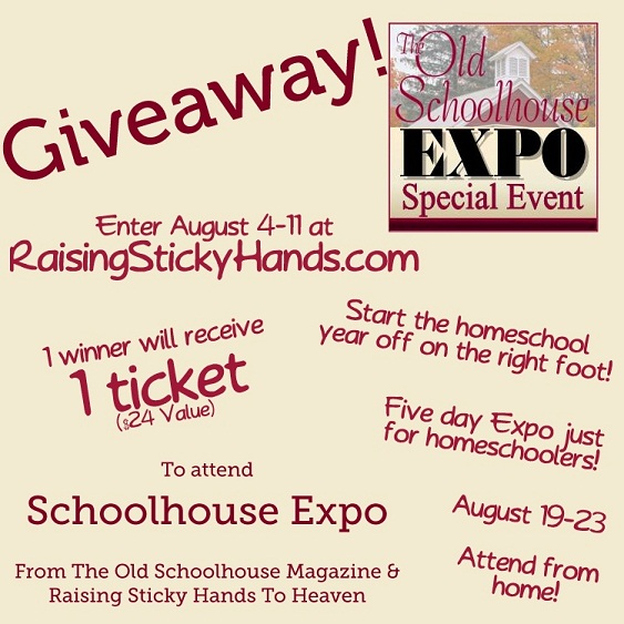 Giveaway for 1 ticket to Schoolhouse Expo from Raising Sticky Hands To Heaven August 4-11
