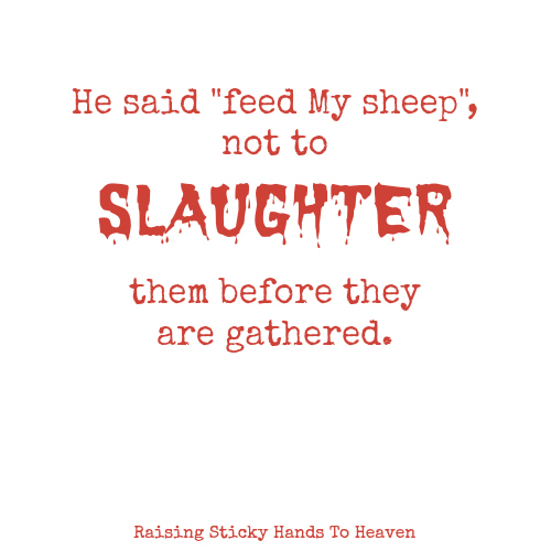 "He said ""feed My sheep"", not to slaughter them before they are gathered. - Raising Sticky Hands To Heaven"