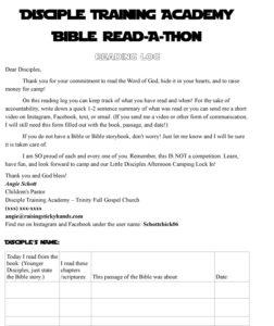 Disciple Training Academy Reading Log-1